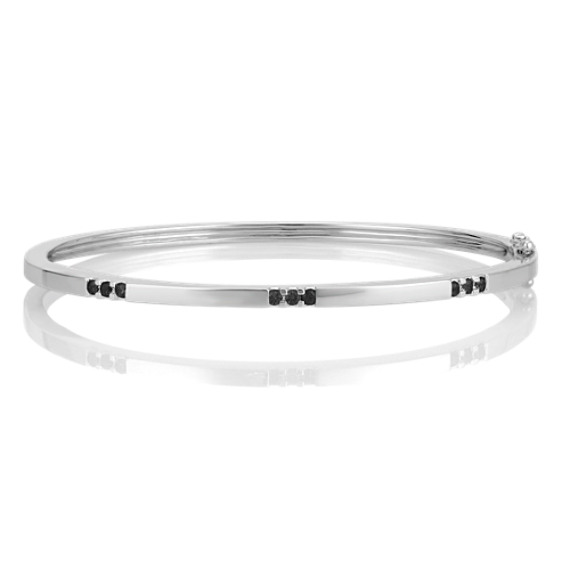 Sterling Silver and Round Black Sapphire Bangle Bracelet (7)