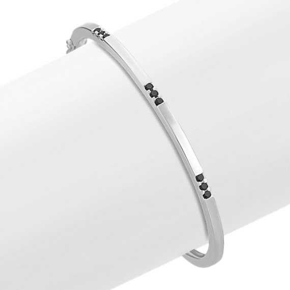 "Sterling Silver and Round Black Sapphire Bangle Bracelet (7"")"