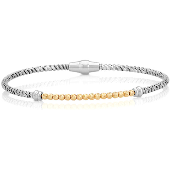 """Sterling Silver and Yellow Sterling Silver Bracelet (7.5"""")"""