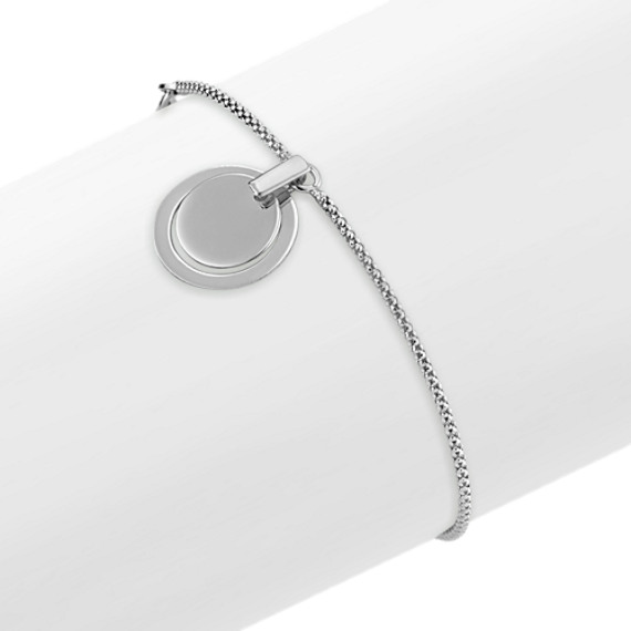 "Sterling Silver Bracelet with Double Circle Accent (7.5"")"