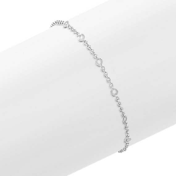 "Sterling Silver Circle Ankle Bracelet (9.5"")"