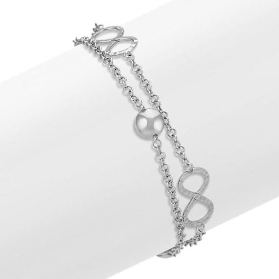 Sterling Silver Double Chain Infinity Bracelet (7.5)