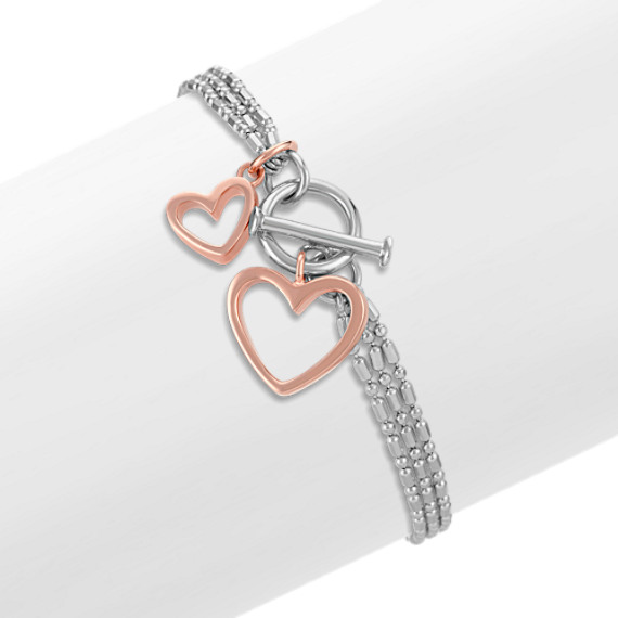 Sterling Silver Double Heart Bracelet (7)