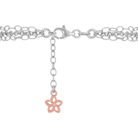 "Sterling Silver Flower Bracelet (7.5"")"