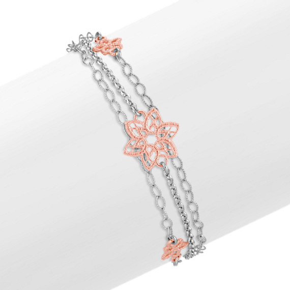 Sterling Silver Flower Bracelet (7.5)
