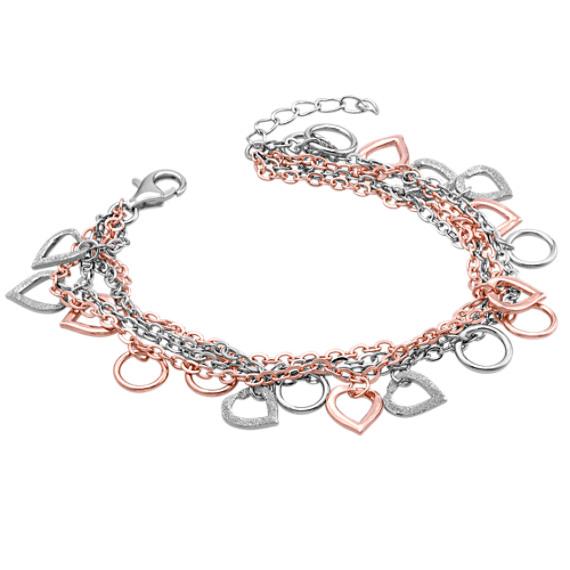 """Sterling Silver Heart Bracelet (7"""")"""