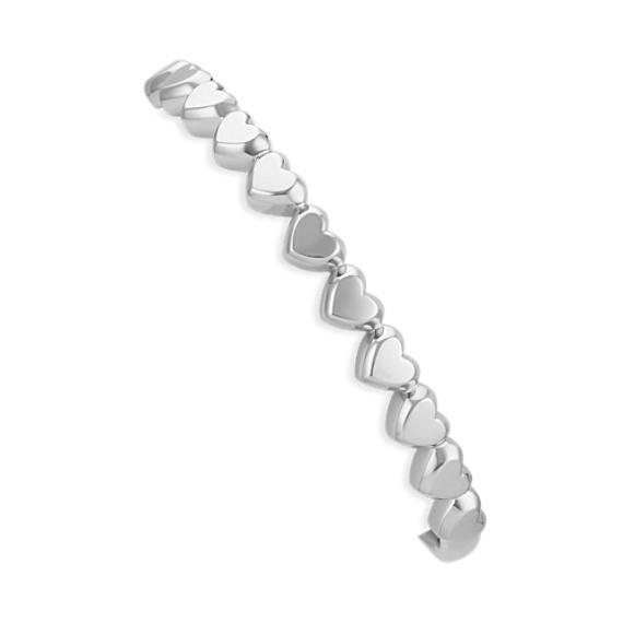 """Sterling Silver Heart Cuff Bracelet (7"""")"""