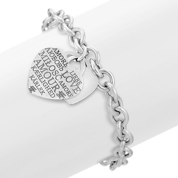 "Sterling Silver Love Letters Bracelet (7.5"")"