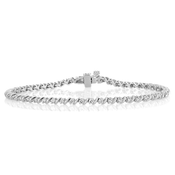 "Swirl Diamond Tennis Bracelet (7"")"