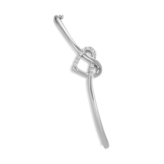 """Swirl Heart Bangle Bracelet in Sterling Silver (8"""")"""