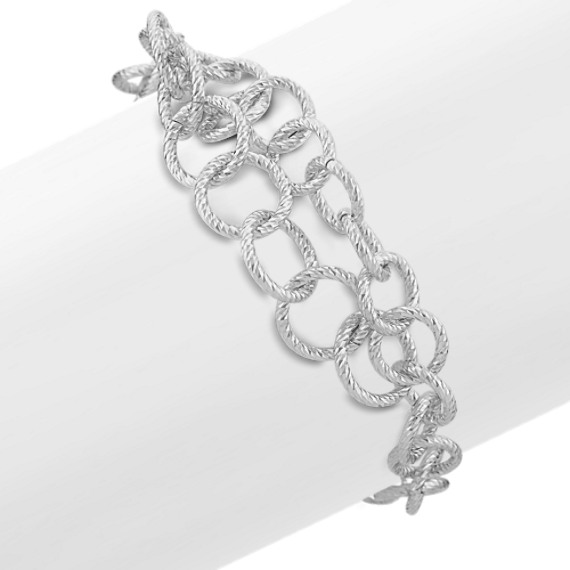 Textured Circle Sterling Silver Bracelet (7)
