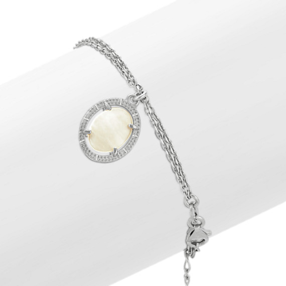 Vintage Mother of Pearl Bracelet in Sterling Silver (7.5)