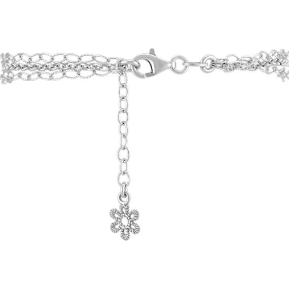 Vintage Sterling Silver Floral Bracelet (7.5)