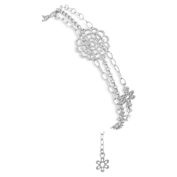 """Vintage Sterling Silver Floral Bracelet (7.5"""")"""