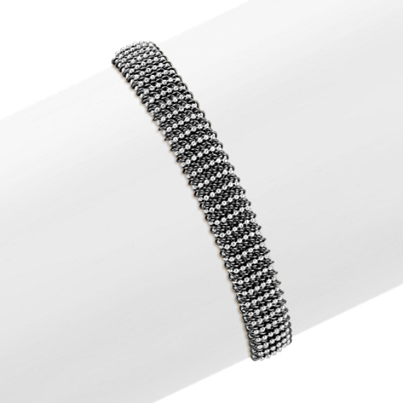 White and Black Sterling Silver Mesh Bangle Bracelet (7.75)