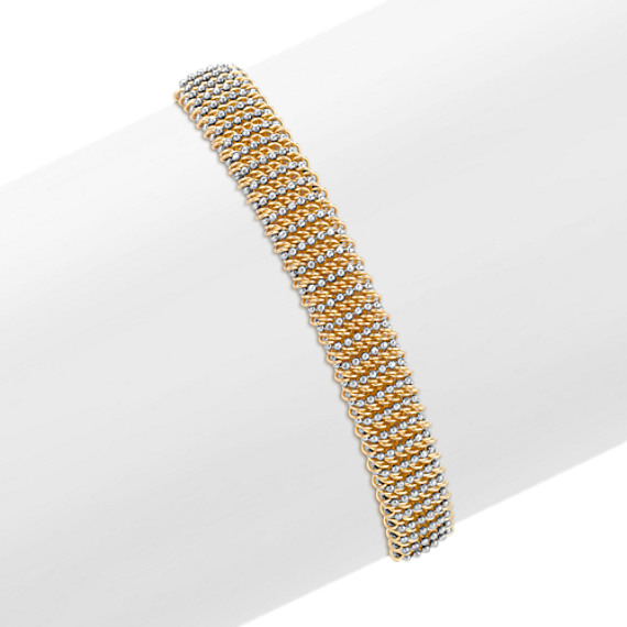White and Yellow Sterling Silver Mesh Bangle Bracelet (7.75)