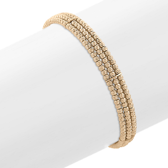 """Yellow Sterling Silver Flex Cuff Bracelet (7"""")"""