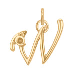 14k Yellow Gold Letter W Charm