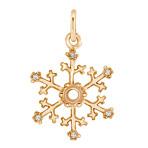 Round Diamond Snowflake Charm