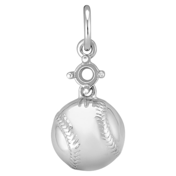 14k White Gold Baseball Charm