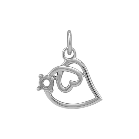 14k White Gold Double-Heart Charm