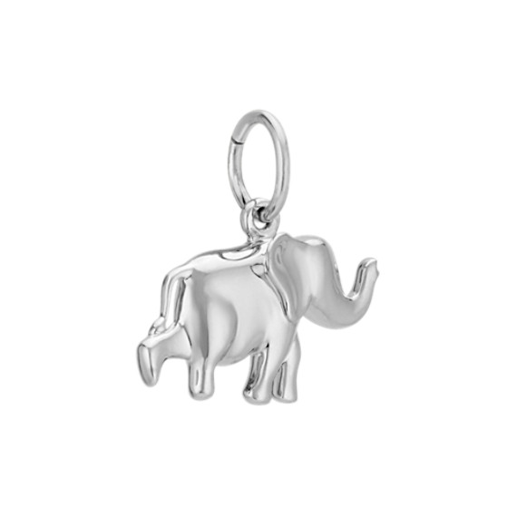 14k White Gold Elephant Charm