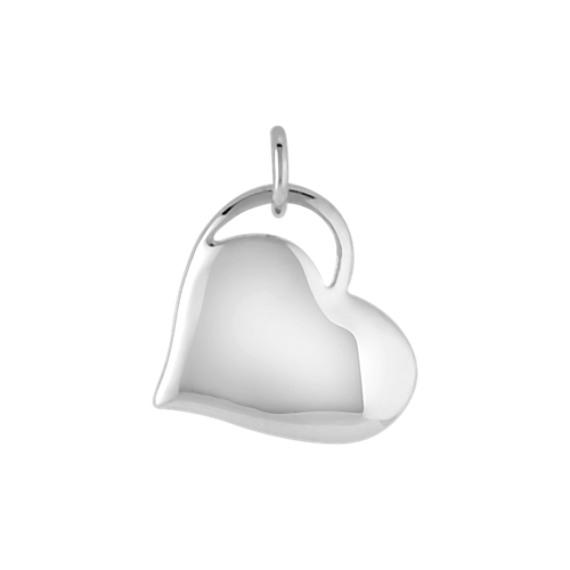 14k White Gold Heart Charm