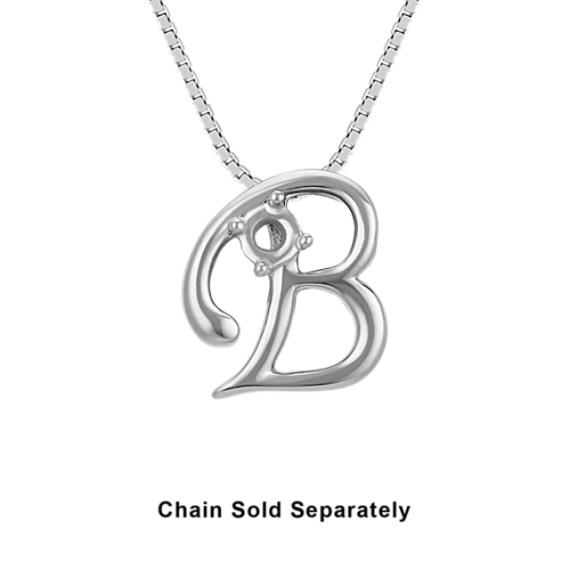 14k White Gold Letter B Charm