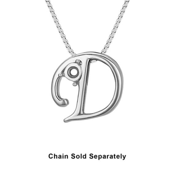 14k White Gold Letter D Charm