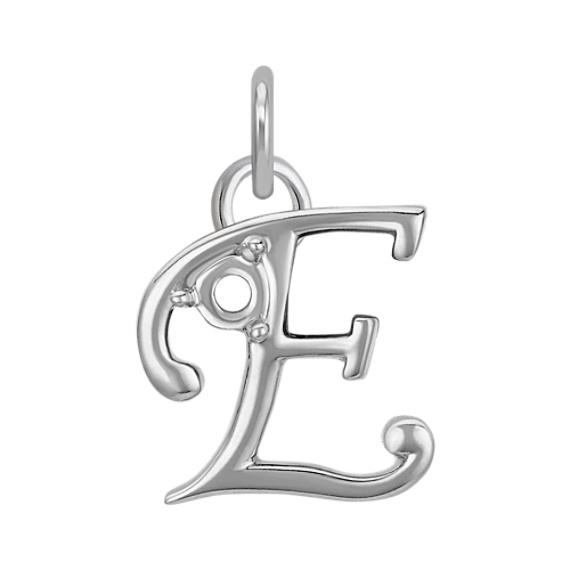 14k White Gold Letter E Charm