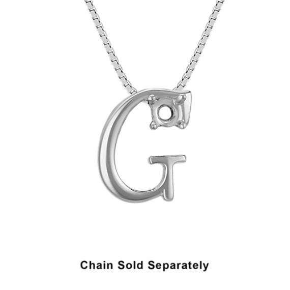 14k White Gold Letter G Charm