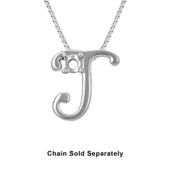 14k White Gold Letter J Charm