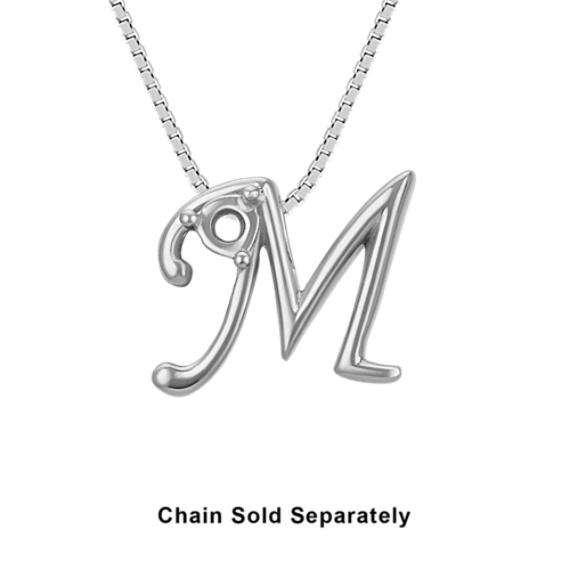 14k White Gold Letter M Charm