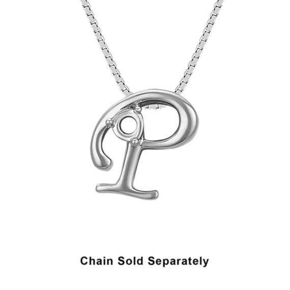 14k White Gold Letter P Charm