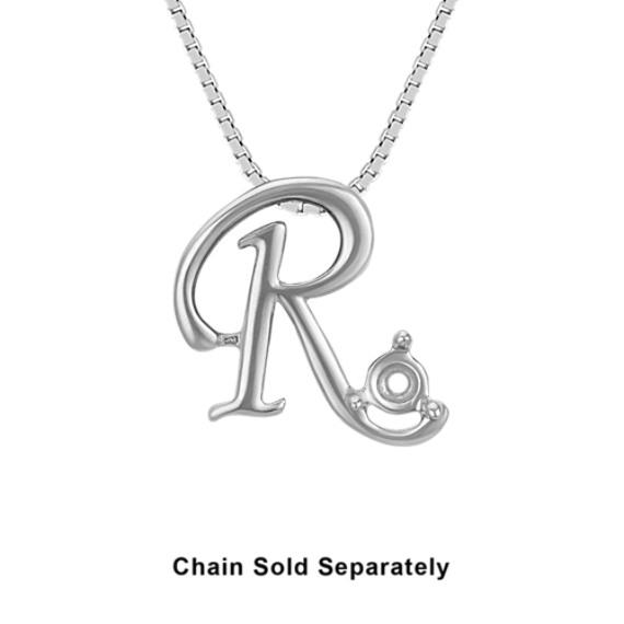 14k White Gold Letter R Charm