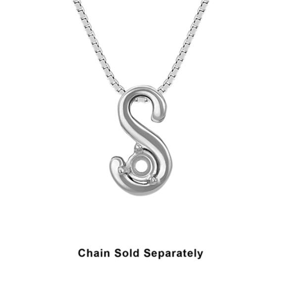 14k White Gold Letter S Charm