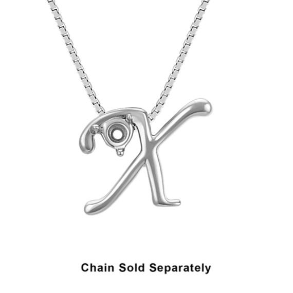 14k White Gold Letter X Charm