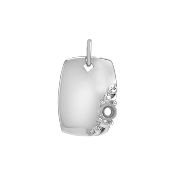 14k White Gold Rectangle Charm
