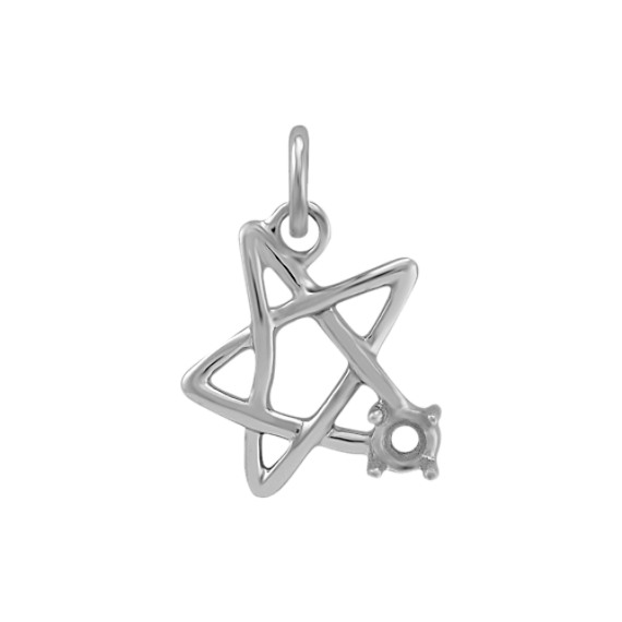 14k White Gold Star Charm