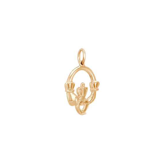 14k Yellow Gold Claddagh Charm