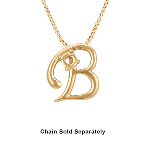 14k Yellow Gold Letter B Charm