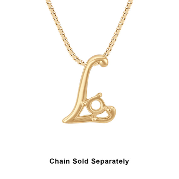 14k Yellow Gold Letter L Charm