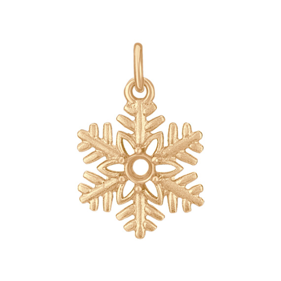 14k Yellow Gold Snowflake Charm