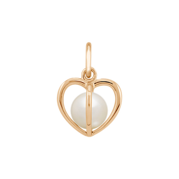 5mm Cultured Freshwater Pearl Heart Charm