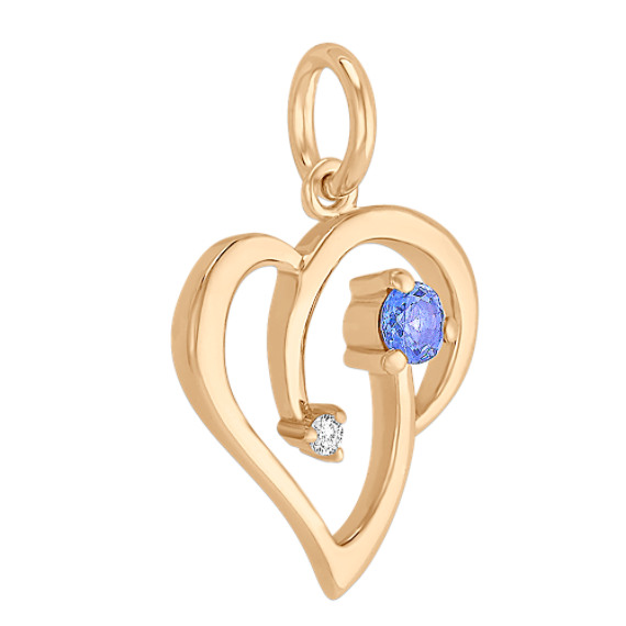 Round Diamond and Kentucky Blue Sapphire Heart Charm