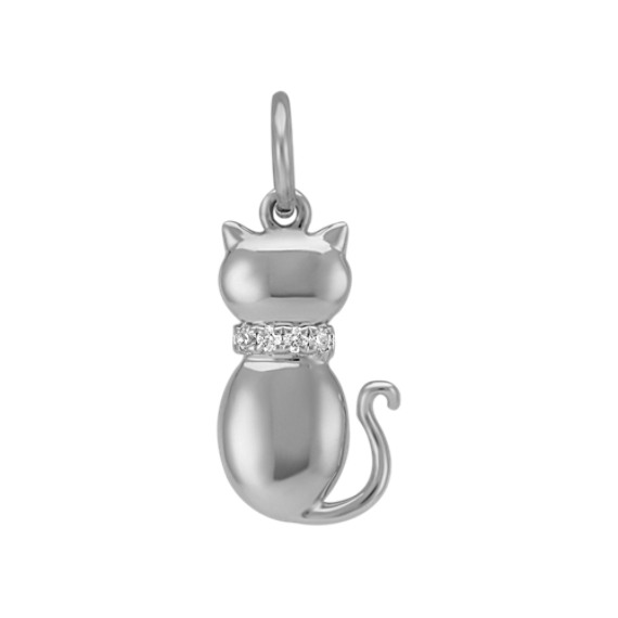 Round Diamond Cat Charm