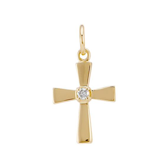 Round Diamond Cross Charm