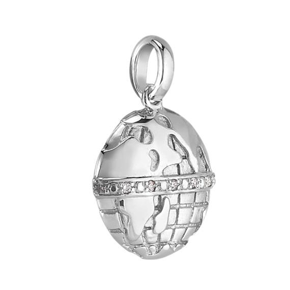 Round Diamond Globe Charm