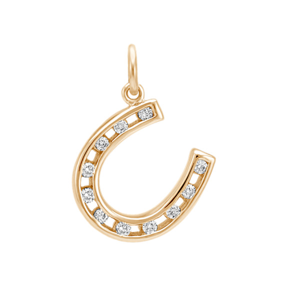 Round Diamond Horseshoe Charm in 14k Yellow Gold
