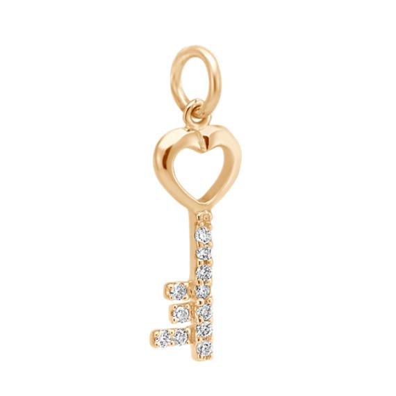 Round Diamond Key Charm